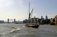 Travelling down the Thames River, view back towards Tower Bridge